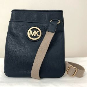 Michael Kors Fulton Leather Crossbody Bag Blue NEW